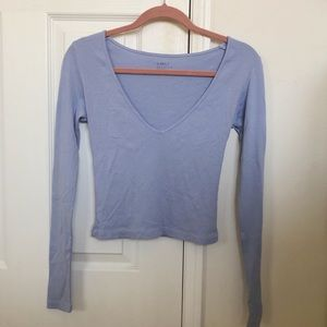 Brandy Melville baby blue v neck long sleeve
